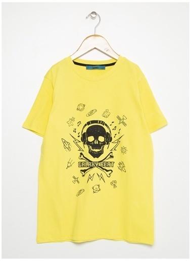 Funky Rocks Funky Rocks Erkek Çocuk Sarı Bisiklet Yaka T-Shirt Sarı
